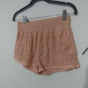 Lace Crochet Trimmed Shorts